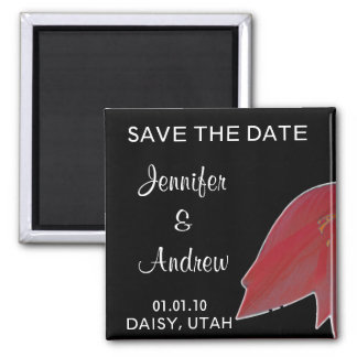 Red & Black Flower Save the Date Magnet