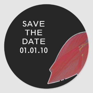 Red & Black Flower Save the Date Sticker