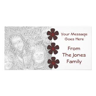 red black flowers card