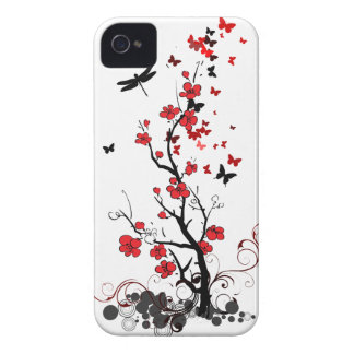 Red & Black flowers iPhone 4 Case-Mate Cases
