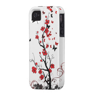 Red & Black Flowers Vibe iPhone 4 Covers