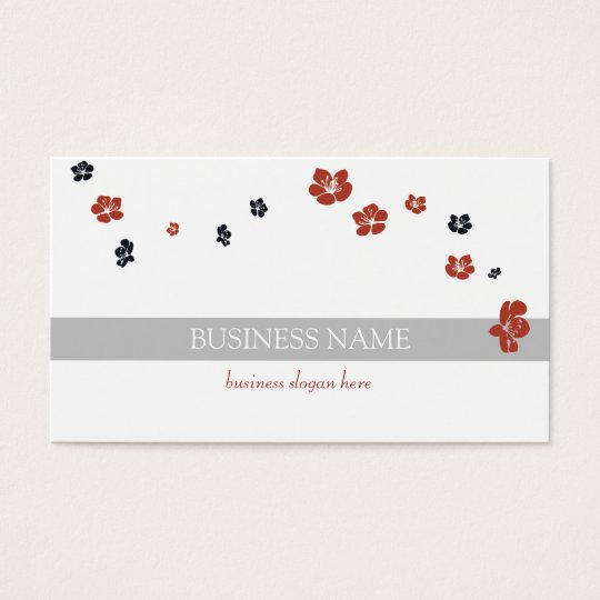 Red Black Flowers Elegant Business Card
