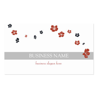 Red Black Flowers Elegant Double-Sided Standard Business Cards (Pack Of 100)