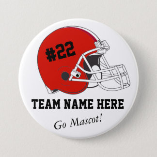 Red Black Football Helmet•Custom Pinback Button