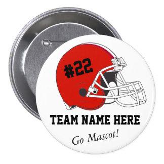 Red Black Football Helmet•Custom Pinback Button
