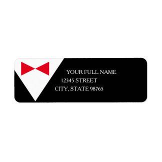 Red & Black Formal Tuxedo Return Address Labels