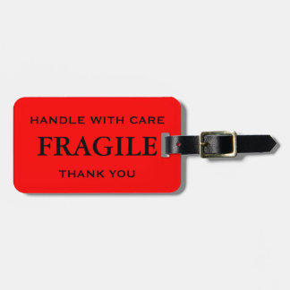 Red Black Fragile Handle with Care Thank You Luggage Tag