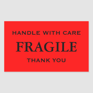 Red/Black Fragile. Handle with Care. Thank you. Rectangular Sticker
