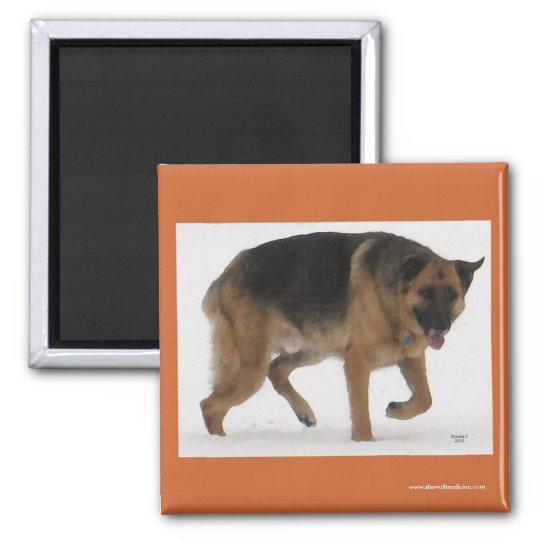 Red & Black German Shepherd - Ranch Dog Lover Magnet