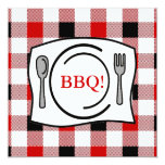 Red Black Gingham Tablecloth BBQ Personalized Invitations