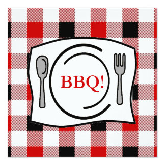 Red Black Gingham Tablecloth BBQ 5.25x5.25 Square Paper Invitation Card
