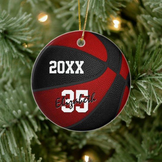 red black girls boys basketball team keepsake ceramic ornament
