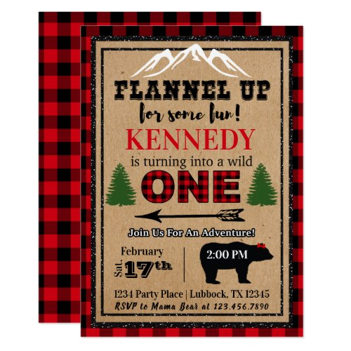 Red Black Girl's Buffalo Plaid Birthday Invitation