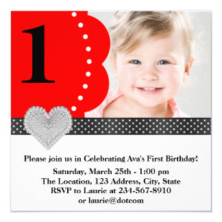 """Red Black Girls Photo 1st Birthday Party 5.25"""" Square Invitation Card"""