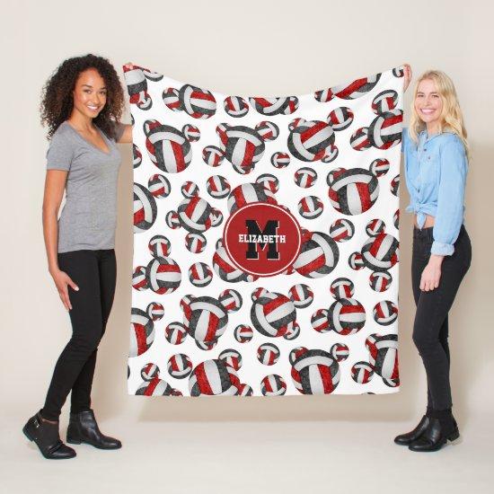 red black girls volleyball team colors monogrammed fleece blanket