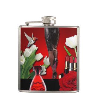 Red & Black Girly Fashion Flask