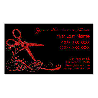 Red black glitter swirl hair cut business cards