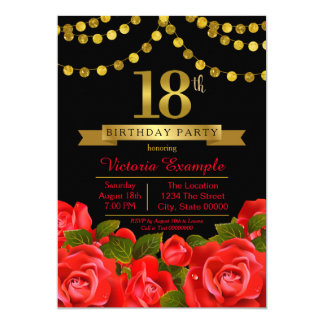 Red and black 18th birthday invitations announcements zazzle red black gold 18th birthday party card stopboris Gallery
