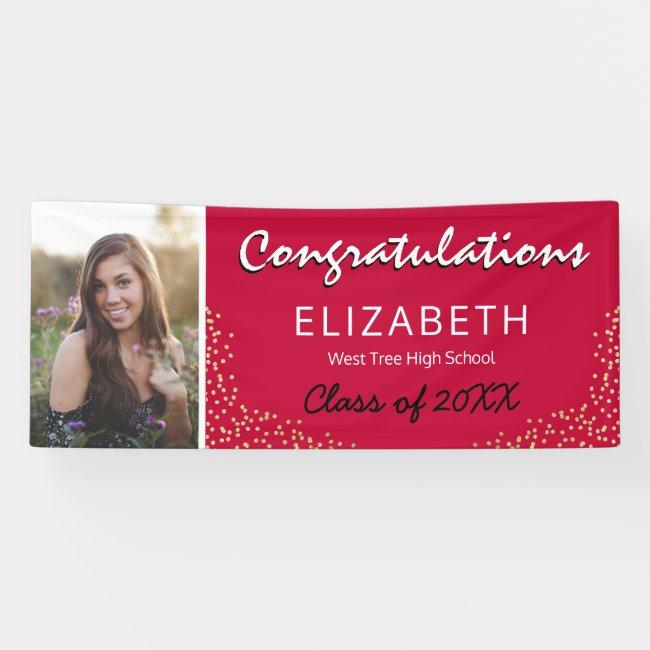 Red Black Gold 2021 Graduation Photo Banner