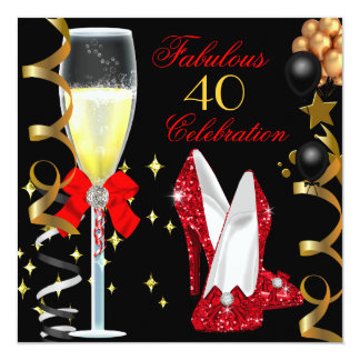 Red Black Gold 40 & Fabulous 40th Birthday Party Card