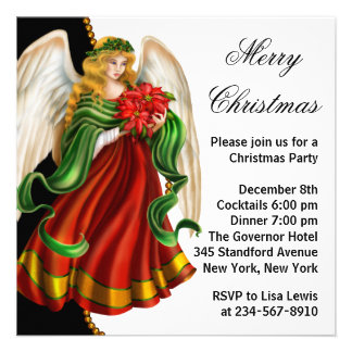 Red Black Gold Angel Christmas Party Invitation