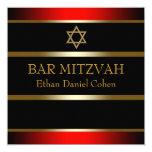 Red Black Gold Bar Mitzvah Invitation