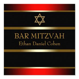 Red Black Gold Bar Mitzvah 5.25x5.25 Square Paper Invitation Card