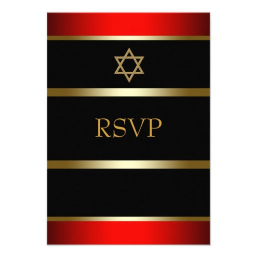 Red Black Gold Bar Mitzvah RSVP Personalized Invites