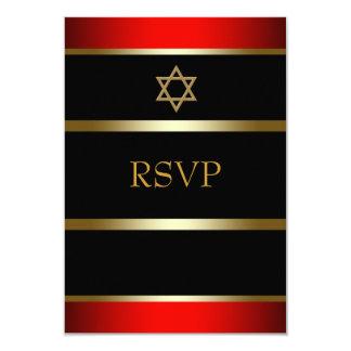 Red Black Gold Bar Mitzvah RSVP 3.5x5 Paper Invitation Card