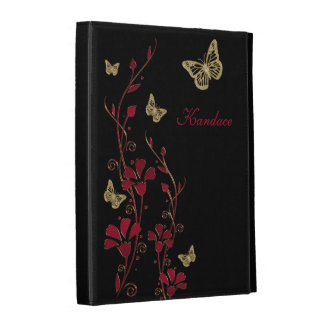 Red Black Gold Butterfly Floral iPad (1,2,3) Folio iPad Folio Covers