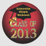 Red Black & Gold Class Of 2013 Graduation Stickers
