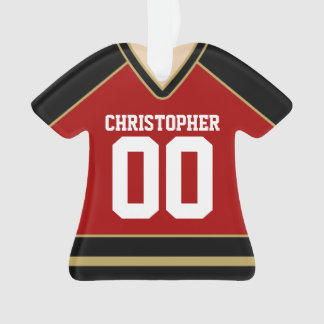 Red/Black/Gold Custom Hockey Jersey Ornament