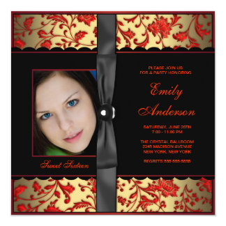 Red Black Gold Damask Photo Sweet 16 Party Card