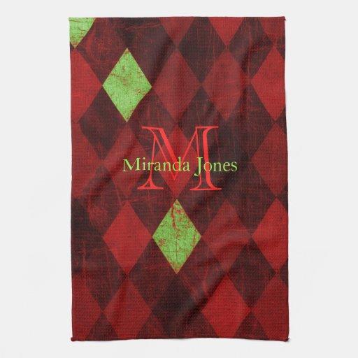 Red Black Gold Diamond Monogram Hand Towels