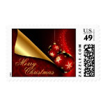 Red Black Gold Elegant Embellishment Christmas Postage Stamp