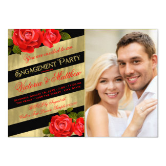 Red Black Gold Engagement Party Card