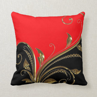 Red Black Gold Flourish Throw Pillow