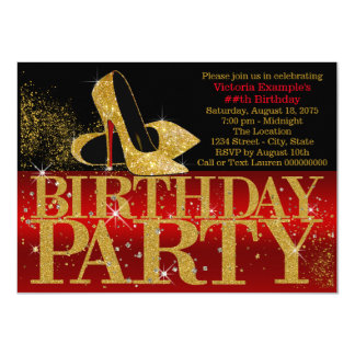 Red Black Gold Glitter High Heel Birthday Party Card
