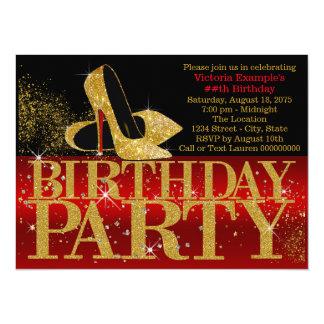 Red Black Gold Glitter High Heel Birthday Party Card