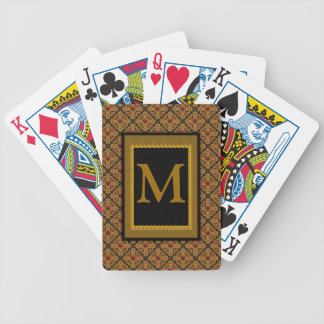 Red Black Gold Heart Monogrammed Playing Cards