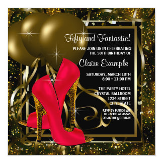 Red Black Gold High Heels Womans Birthday Party Card