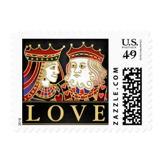 Red, Black & Gold King Queen LOVE Matching Postage