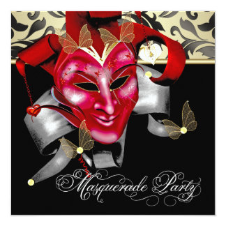 Red Black Gold Masquerade Party Invitations