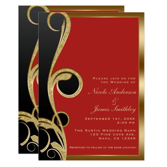 Red Black Gold Modern Glam Elegant Swirl Wedding Invitation
