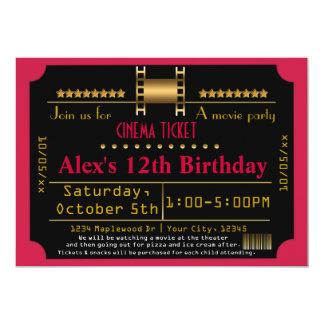 "Red Black Gold Movie Ticket Cinema Film Invitation 5"" X 7"" Invitation Card"