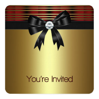 Red Black Gold Party 5.25x5.25 Square Paper Invitation Card
