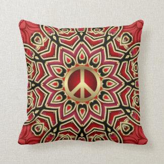 Red Black Gold Peace Geometric Batik Cushion