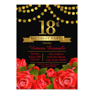 Red Black Gold Red Rose 18th Birthday Party Card