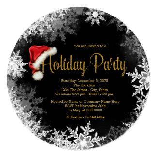 Red Black Gold Santa Hat Snowflake Holiday Party Card