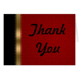 Red Black Gold Thank You Card